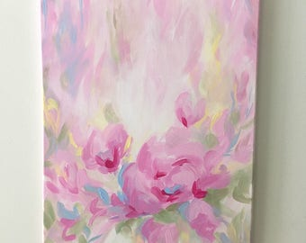 "Original Abstract Floral Painting on Canvas, Pink, Green, Yellow, Blue 16"" x 20"""