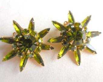 Vintage JUDY LEE Green Glass Earrings, Stars, Flowers, 1950s Designer Jewelry