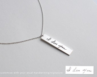 Personalized Handwriting Bar Necklace / Engraved Signature Bar Necklace / Actual Handwriting Bar Necklace  (M-BN02)
