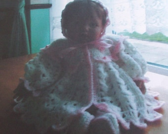 Baby  girl crochet  patern for  Matinee coat, booties and Bonnet