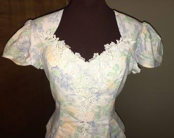 Vintage 1980s Scott McClintock Floral Cotton Dress