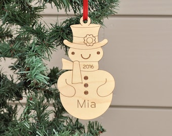Snowman Ornament: Classic Wooden Snowman Boy or Girl with Personalized Name 2018, Baby's First Christmas, Winter Snow Ornament