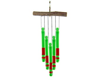 Red and Green Wind Chime, Red and Green Chime, Glass Windchime