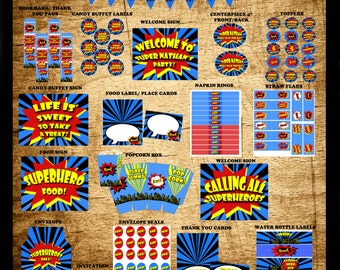 Printable Superhero Party- Superhero Birthday, Superhero Party Decorations, Printable Party- Comic Book Party Complete Party Package