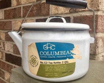 Vintage Enamel Tea Kettle
