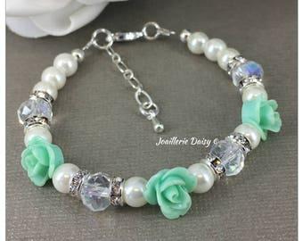 Mint Wedding Flower Girl Bracelet Flower Girl Jewelry Flower Girl Gift for Her Mint Flower Bracelet Wedding Jewelry Gift Idea
