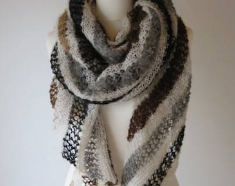 Handspun Alpaca Shawl Assymetric Shawl, Scarf, or Wrap in White with Natural Grey Brown and Black