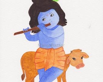 Krishna painting, watercolor, cute bala krishna, baby krsna, nursery pooja living room decor - Digital file - Instant download