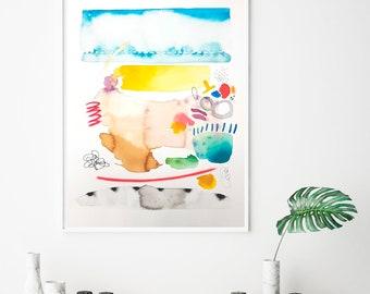Original watercolor painting, playful wall art, map art, colorful decor, large artwork, unusual art, modern painting, beach home decor