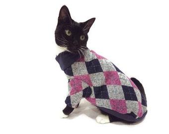 Navy and Pink Argyle Cat Sweater-Argyle Cat Sweater-Cat Sweater-Cat Clothes-Cat Clothing-Cat Apparel-Pet Clothes-Shirts for Cats-Cat Shirts