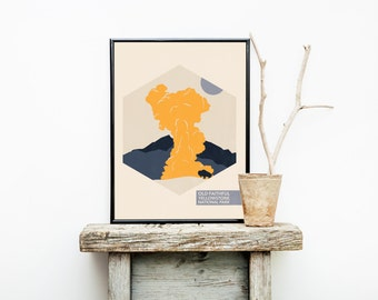 National Park Travel Posters - Yellowstone National Park - Hiking Travel Poster  - Old Faithful - Minimalist Poster – Home Décor – Wall Art