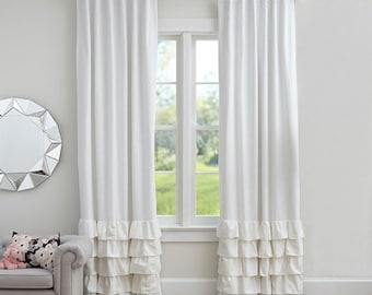 Ruffled 100%  linen curtains panel,Shabby chic window treatments