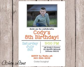 Printable Birthday Invitation.  Photo Birthday Invite.  Little Boy Party Invitation. Picture Card.  Birthday Invite with Picture.  Simple