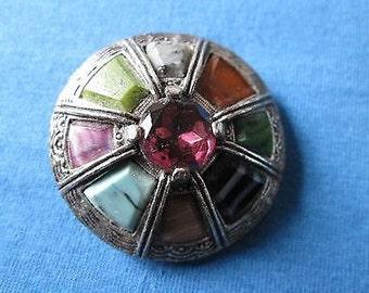 Venetian Stone Set Pin Brooch c1960's