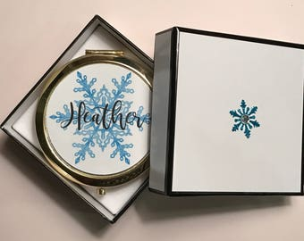 Personalized Gift, Snowflake Compact Mirror, Stocking Stuffer, Christmas Gift For Co Worker Friends Family Mom Grandmother Hostess Gift