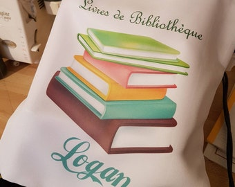Tote bag library personalized with the name of your choice
