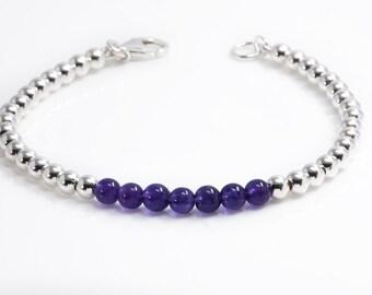 Amethyst Bracelet | Silver Bead Bracelet | February Birthstone Bracelet | Amethyst Jewelry |  925 Sterling Silver Bracelet