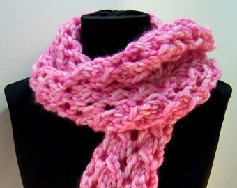 Pink Chunky Knit Wool Scarf , Long Chunky Knit Lace Scarf,  Pink Lacey Knit Scarf, Luxury Wool Knit Scarf, Big Knit Wool Scarf, Winter Trend