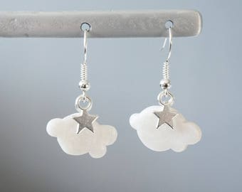 2 - Pearl White Cloud - polymer clay earrings