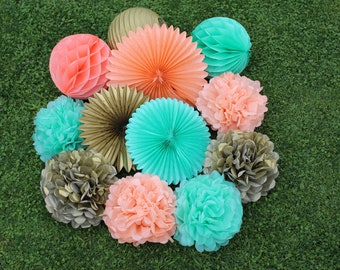 12pcs Mint Green Peach Gold  Hanging Paper Fans Tissue Paper Pom Poms Flower and Honeycomb Balls for Birthday Party Wedding Festival Decor