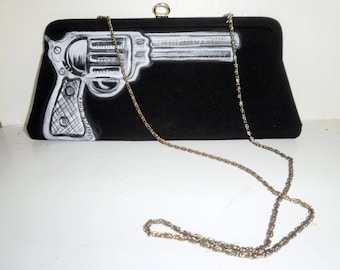 Hand Painted Revolver Clutch/ Shoulder Purse