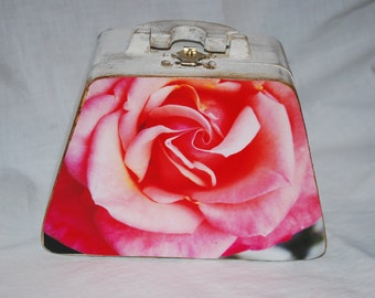 wooden box purse with pink rose photograph