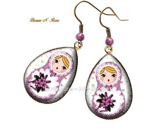 Drop earrings * matryoshka * purple Bohemian Russian dolls