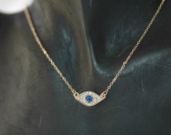 Evil Eye, Crystal Evil Eye Necklace, Charm evil eye necklace, blue evil eye, Good Luck Charm, Gift for her, Valentines gift
