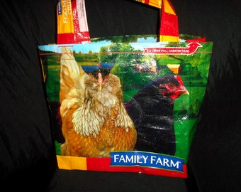 Family Farm Egg Maker Hen Chicken Red Orange Brown Bag Up-Cycled Feed Bag Tote