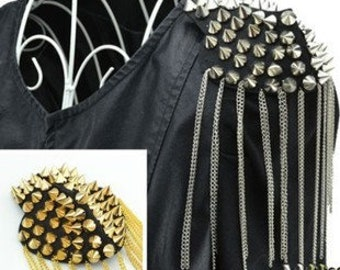 A pair Tassels Epaulets,Gold Stud Epaulets Gold Studs Shoulder Pad,Shoulder Embellishment,Epaulets,Gold Spike Epaulet