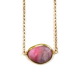 Gold Bezeled Pink Rhodochrosite Pendant on 14kt Gold Filled Chain, Rhodochrosite Necklace, Rhodochrosite Pendant, Pink Stone Necklace
