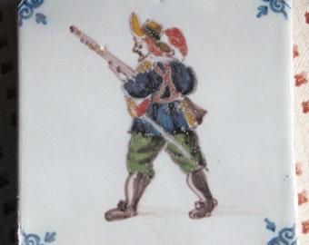 18th c. Delft Dutch Tile Polychrome Delftware