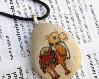 Camel, camel necklace, camel jewel, camel pendant, camel on stone, animal necklace, middle East, Israel, oriental jewel,camel charm necklace