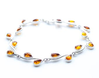 Droplet Amber Bracelet, Amber Silver Bracelet, Amber Jewellery, Amber Link Bracelet, Modern Amber Bracelet, Semi Precious, Gemstone Bracelet