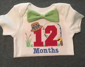 Boys 12 Months fishing  Monthly onesie and Bow Tie.
