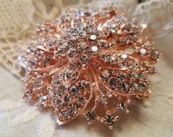 Light Rose Gold Tone Rhinestone Flat Back Embellishment Pin Clear Crystal Flower Broach Wedding Rose Gold Brooch Bouquet DIY Supply RGC1