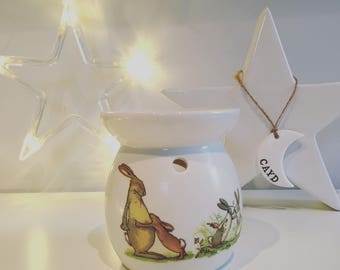 """Hand made """"Guess how much i love you"""" wax burner - hand decorated, nutmeg, home fragrance, wax melts."""