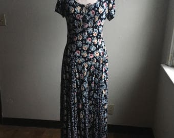 vintage 90s nostalgia made in india floral rayon maxi dress