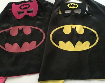Batman Cape and Mask, Batman Cape, Batman Mask, Batman Costume, Batman Party, Batman Birthday, Batman Birthday Party, Batman Party Favors