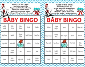 Baby Shower Bingo Game SEUSS Theme _Instant Digital Download_set of 40_Custom available