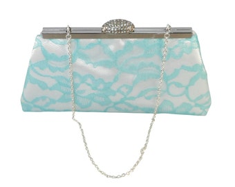 Bridesmaid Gift Clutch, White, Aqua Blue Lace And Blush Pink Bridal Clutch, Mother Of The Bride Gift, Bridal Shower Gift, Gifts For Her