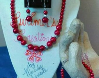 Red Pearls Necklace Set