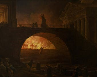 Poster, Many Sizes Available; Hubert Robert The Fire Of Rome