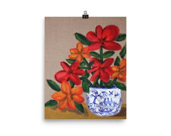 Blue Willow Flowers Poster