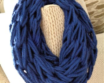 RESERVED Blue Chunky Knit Infinity Scarf - Blue Winter Scarf - Blue Vegan Scarf - Blue Winter Accessory - Blue Acrylic Scarf - Gift for Her