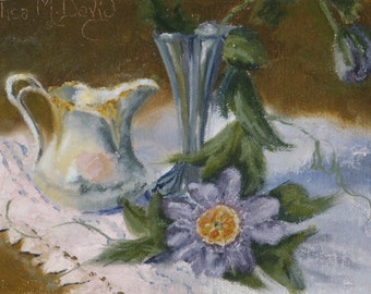 Passion Fruit Blossoms - Original Oil Painting