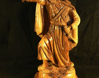 HAND-CARVED FIGURE: Arab Warrior with Falcon, Large Wood Carving