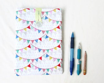 IPad Mini case, 8 inch tablet case, bunting fabric, fabric tablet sleeve, padded tablet cover, IPad mini 2, handmade in the UK