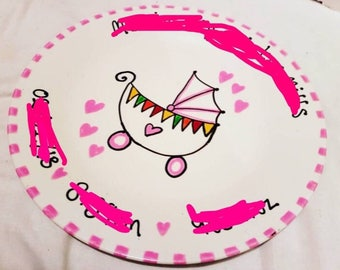 Personalised Plate for new baby! Boy or girl