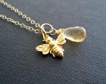 Bumble bee necklace, Honey bee necklace, Citrine necklace, Gold charm, birthstone, custom gemstone, nature inspired jewelry, yellow topaz